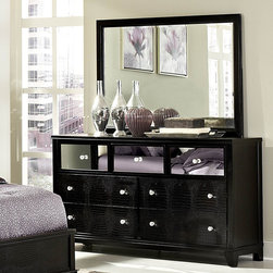 Homelegance - Homelegance Jacqueline Mirrored Drawer Front Dresser w/ Mirror in Black Faux All - Glamour reigns supreme in the Jacqueline Collection.Faux alligator veneers are covered in black finish that is highlighted by the mirrored drawer fronts  while crystal button-tufting graces the cased pieces and headboard reflecting not only the light  but your personal style. With white bi-cast vinyl headboard  you can be assured that your personality is well represented.