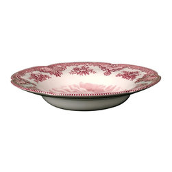 Johnson Brothers - Johnson Brothers Old Britain Castles Earthenware Rim Soup Bowl - Pink - Set of 6 - Shop for Bowls from Hayneedle.com! Add elegance and classic beauty to your dinner table with the gorgeous Johnson Brothers Old Britain Castles Earthenware Rim Soup Bowl - Pink - Set of 6. Beautifully designed with a castle in the center the delicate floral design around the rim brings the picture together perfectly. Each piece also depicts the name of the castle and the year of its setting inscribed at the bottom of the scene. Don't be fooled by its delicate appearance this set is crafted from strong and durable earthenware and is dishwasher and microwave safe.About WedgwoodThrough highly skilled craftsmanship and the highest quality standards Wedgwood manufactures quality ceramics with sophisticated classical and contemporary design. With a tradition of innovation quality and craftsmanship Wedgwood designs are widely acknowledged as timeless elegant classic and understated. Their design teams work with external designers for cross-pollination of ideas and experience. Founded in 1759 by Josiah Wedgwood Wedgwood has been an international company determined to uphold their standards in order to maintain their leadership in the world's markets. Though their roots are over two centuries old the company strives to stay current through partnerships with fashion designers Jasper Conran and Vera Wang with whom they've developed contemporary and stylish ranges that appeal to the younger consumers.
