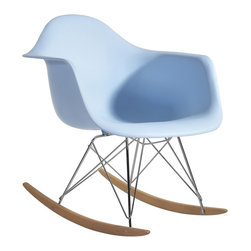 Hampton Modern - Molded Plastic Armchair Rocker in Baby Blue - This Mid-century retro modern rocker is made of a molded plastic seat connected to a steel base frame, on a solid ash wood rocking base. Often found in a nursery or near a warm fireplace in the living room, it adds a bit of whimsical fun to any corner.