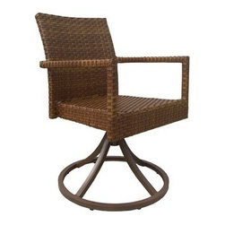 Panama Jack - Panama Jack St. Barth's Swivel Dining Arm Chair (Set of 2) - Escape to your very own Caribbean paradise with The St Barth's collection by Panama Jack. The Swivel Arm Chair incorporates an extruded aluminum frame with an exclusive thick woven wicker fiber from Viro eliminating the need for cushions. They can be purchased separately in Sunbrella fabric for all year round outdoor use and they come in a variety of colors and patterns to match your outdoor decor. This set includes two (2) swivel arm chairs. The swivel base gives you the freedom to experience the views from all angles. It can be paired with other items in this collection to create the ultimate Caribbean paradise in your home patio. The St. Barth's collection by Panama Jack incorporates an extruded aluminum frame with an exclusive thick woven wicker fiber from Viro. The arms on the lounge chair and loveseat are thick and provide a comfortable arm rest. Fast drying cushions with outdoor polyester fabric are included and are suitable for all year around use outdoor.More than three decades ago the Original Panama Jack suncare products were quietly introduced on Florida's beaches. Word gets around in a beach town. Like the sand in their shoes and the sunset memories in their minds loyal locals and visitors alike took Panama Jack home with them to Main Street America and to the world. Since those early days Panama Jack established a following that extends far beyond stretches of pure white sand. Made with Love Care and Pride since 1974 Panama Jack is committed to bringing the feeling of escape fun adventure and the lifestyle of the tropics to people everywhere. They will continue to deliver products that provide you with even more freedom to enjoy what's most meaningful to you and your family. Features include Outdoor Swivel Chair Constructed of extruded aluminum frame that will not rust Weather and UV resistant Swivels & Tilts Can be used indoors or outdoors Set Includes: 2 Swivel Chairs. Specifi