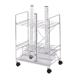 Safco - Safco Chrome Wire Roll File with 24 Compartments - Safco - Wire Storage - 3089 - This chrome wire rolling file cart rolls easily to point of use on four swivel casters. With a grandstand design you can easily identify and remove your project. Assembly is simple just unfold your unit and drop in the base and grids.