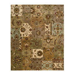 """Nourison - Nourison Jaipur JA37 5'6"""" x 8'6"""" Light Multicolor Area Rug 09218 - Marvelously modern patchwork brings elements of Persian design into delightful interplay. The multi-color palette of soft greens, taupes and ivory creates a subtle neutral effect that is both harmonious in the home and lively to the eye. Sophisticated and original."""