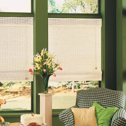 White Woven Wood Shades - Woven Wood Shades are ideal for bringing a natural and comfortable feel to any room. Available in a wide variety of colors, textures and opaqueness so you may achieve your desired look in any room. Photo courtesy of Vista Products.