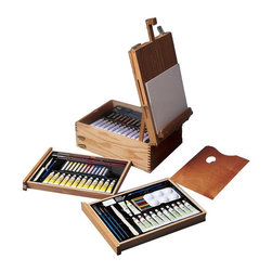 Martin Universal - Martin Universal Every Media Easel Box Set Multicolor - AS-HBX-33 - Shop for Drawing and Coloring from Hayneedle.com! Treat yourself to the professional style Martin Every Media Easel Box Set for transporting your art materials then use it as a large table top easel! It's made of beautiful hardwood that's hand-finished and includes a professional palette with brass plated hardware. Look at what's included: Oil Painting Materials: 7.8 x 11.8 inch palette 12 tubes of oil colors 12 oil pastels palette knife 3 piece set of oil painting brushes and 2 canvas panels 8 x 10 inches. Plus Acrylic Painting Materials: 12 tubes of acrylic artist colors 12 artist pastels a set of 3 acrylic artist brushes another palette knife for acrylic and an HB pencil. Finally you'll also receive Watercolor Painting Materials: 12 tubes of artists watercolors a set of 3 artist watercolor brushes a watercolor palette with 6 wells watercolor palette knife 2B pencil pencil sharpener and pencil case.