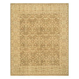 """Loloi Rugs - Loloi Rugs Vernon Collection - Moss / Gold, 5'-6"""" x 8'-6"""" - The hand-knotted Vernon Collection is at once sophisticated and trendy. Made in India of 100-percent fine wool, Vernon's traditional designs are inspired by Turkish Oushaks. Note the meticulous antique finishing, which gives each rug in the collection a distinctive, Old-World patina. Vernon takes traditional rug fashions up a notch."""