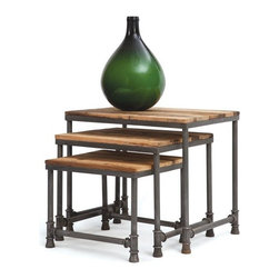 Set of Three Pipe Nesting Tables - These pipe nesting tables comes from the French country furniture collection. It is an ideal piece of furniture to be placed in an informal setting beside the wall. These reclaimed wood top tables with an iron pipe base come in the set of three in different dimensions.