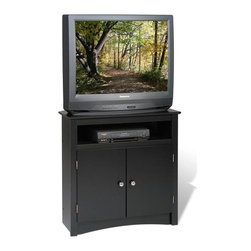 Prepac - Corner TV Cabinet in Black Finish - Open shelf for DVD player, PVR or gaming console. Two doors enclosed cabinet with adjustable shelf. Back has cutout for cable management. Holds flat panel, LCD and conventional CRT TVs upto 100 lbs.. Tip tested to stringent UL 1678 standards. Warranty: Five years. Made from CARB-compliant, laminated composite woods. Made in North America. Minimal assembly required. Open shelf: 26.75 in. W x 19.75 in. D x 5.5 in. H. Cabinet shelf: 26.75 in. W x 19.75 in. D x 18 in. H. Overall: 32 in. W x 21 in. D x W x 32 in. HThe Tall Corner TV Cabinet is uniquely sized to be the perfect companion for your bedroom. Higher than most cabinets, it�۪s ideal for watching TV from your bed.