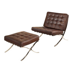 """Vintage Classics-Lazzaro - Matrix Tufted Brompton Leather Lounge Chair and Ottoman - Introducing the  Matrix, with a contemporary dynamic vintage  look. Reminiscent of the high end modern design that is timeless . This chaise has durable suspension with button tufting and a Vintage Brompton Chocolate leather. Outer frame is a polished metal.  Dimensions: 34"""" W x 31"""" D x 35"""" H"""