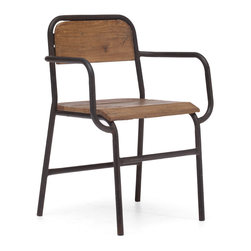 ZUO ERA - West Portal Chair Distressed Natural - The combination of wood and antiqued steel make for an armchair with lots of industrial design appeal. This chair shows off a lot of strength both in appearance and construction, and is perfect for the dining room or office.