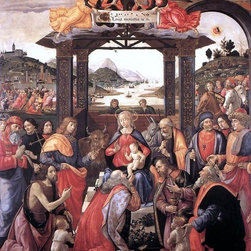 """Domenico Ghirlandaio Adoration of the Magi - 16"""" x 20"""" Premium Archival Print - 16"""" x 20"""" Domenico Ghirlandaio Adoration of the Magi premium archival print reproduced to meet museum quality standards. Our museum quality archival prints are produced using high-precision print technology for a more accurate reproduction printed on high quality, heavyweight matte presentation paper with fade-resistant, archival inks. Our progressive business model allows us to offer works of art to you at the best wholesale pricing, significantly less than art gallery prices, affordable to all. This line of artwork is produced with extra white border space (if you choose to have it framed, for your framer to work with to frame properly or utilize a larger mat and/or frame).  We present a comprehensive collection of exceptional art reproductions byDomenico Ghirlandaio."""