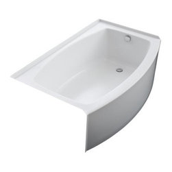 """KOHLER - KOHLER K-1100-RA-96 Expanse Curved Integral Apron Bathtub with Right-Hand Drain - KOHLER K-1100-RA-96 Expanse Curved Integral Apron Bathtub with Right-Hand Drain in BiscuitThe Expanse Curved Apron Bath has a contemporary design that coordinates with a variety of bathroom fixtures. The curve of the apron matches a bowed shower rod and increases the bathing space. Please see our Delivery Notes for Freight Shipments for products that are oversized and/or are too heavy to ship UPS ground. KOHLER K-1100-RA-96 Expanse Curved Integral Apron Bathtub with Right-Hand Drain in Biscuit, Features:• 60"""" x 32"""" x 17"""" install footprint"""