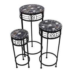 28.74 X 11.81 IN 3 PC Mosaic Planter - Beautiful 3 piece indoor/outdoor round mosaic plant stands