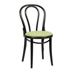 Thonet A18/14 TP Bentwood Chair - The Michael Thonet designed A18/14 TP bentwood chair is one of the most customizable bentwood chair pieces available. Working off of the traditional frame, this Michael Thonet A18/14 TP can be customized from a choice of attractive wood or lacquer finishes, and upholstered with your choice of a beautiful Italian fabric.