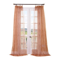 Exclusive Fabrics & Furnishings, LLC - Esparanza Copper Embroidered Sheer Curtain - Sheer perfection. These embroidered drapes are impeccably tailored to diffuse the light beautifully. They'll add the perfect finishing touch to your windows wherever they hang.