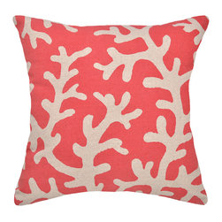 """123 Creations - Coral Linen Pillow - Coral - Beach fresh, 20"""" x 20"""" large, modern pink-red coral pillow design for your beach home on 100% linen."""