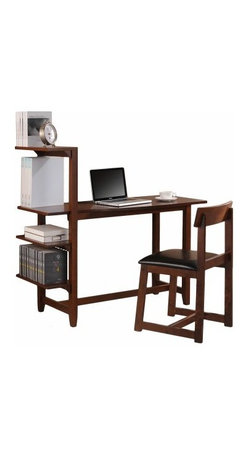 Washington Study Set with Side Shelf Desk and Chair - The Wallaston Study Set with Side Shelf Desk and Chair is everything you need in one set. This combo provides a generous work surface with an attached four-shelf book case and a matching chair. It's made of 100% rubber hardwood in a classic mahogany finish and the chair features a black faux leather seat.