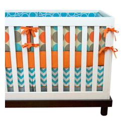 Modified Tot - Baby Bedding Crib Set, Khaki Cool - A huge hit, this crib set brings together simple modern dots and chevron in the perfect palette of aqua, orange and gray. Just what you're looking for!