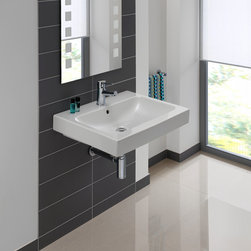 Logic-60 - Wall-mount, self-rimming and/or counter-top ceramic sink with overflow. Features two embedded prepared to drill faucet holes to expand faucet options. Sinks accepts single-hole left or right hand deck-mount faucet. Wall faucet also suitable. Shown in 23.8-inch. Also available in 17.7-inch L