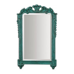 "Uttermost - Andreina Heavily Antiqued Turquoise Accented With A Dark Gray Wash Mirror - The Ornate Frame Is Finished In Lightly Distressed, Heavily Antiqued Turquoise Accented With A Dark Gray Wash. Mirror Features A Generous 1 1/4"" Bevel. Frame Dimensions: 19.5""W X 31.75""H X 1.5""D; Mirror Dimensions: 14.5""W X23.5""H; Finish: Heavily Antiqued Turquoise Accented With A Dark Gray Wash; Material: MDFYes; Beveled: ; Shape: Rectangular; Weight: 19; Included: Brackets, Ready to Hang Vertically or Horizontally"