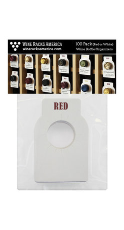 Wine Racks America - Dual-Labeled (Red/White) Wine Cellar Bottle Tags, 100 Pack - Easily find bottles without disturbing your wine. Keep your bottles neatly labeled and organized with these 2-sided wine bottle tags. No-slip design tightly grips any size bottle neck. Free same day shipping.