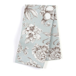 "Light Blue Floral Toile Custom Napkin Set - Our Custom Napkins are sure to round out the perfect table setting""""_whether you're looking to liven up the kitchen or wow your next dinner party. We love it in this beautiful sky blue & gray toile floral cotton sateen. modern or traditional? you be the judge."