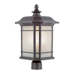 Joshua Marshal - One Light Rust Tea Stained Linen Glass Post Light - One Light Rust Tea Stained Linen Glass Post Light