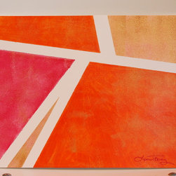"Abstract - Orange Pink and Gold - ""Orange Pink and Gold"" is an Abstract Original Watercolor Painting by Laura Trevey."