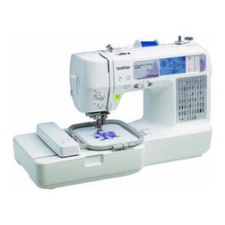 Brother Sewing - Computerized Sewing Embroidery - Brother SE400 Combination Computerized Sewing and Embroidery Machine - Sew quilt and embroider. If you can imagine it you can create it! Enjoy comprehensive sewing functions plus 4-inch-by-4-inch embroidery capabilities. Easy-to-view back-lit touch screen LCD display accesses 67 unique sewing stitches and 70 built- in embroidery designs with 5 lettering fonts. Computer connectivity for importing thousands of embroidery designs purchased from iBroidery.com and other sites and for updating your machine in the future. One-touch automatic thread cutter cuts your top and bobbin thread with ease. Bilingual user manual 25-year limited warranty and free phone support for the life of the product.