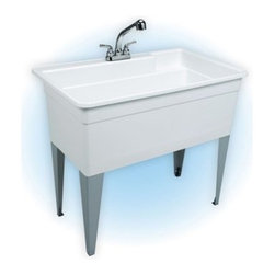 Mustee 28CF Single Basin Floor Mount Utility Sink Combo - The Mustee 28CF Single Basin Floor Mount Utility Sink Combo is massive single-tub unit with a capacity that perfect for soaking and bleaching large loads. The tub has a maximum capacity of 36 gallons and is made a single piece of thermoplastic resin with an integrated leak-proof drain (with stopper). The resin is a proprietary blend of fiberglass and stone called Durastone, which is naturally resistant to mold, mildew, and stains, making it perfect for dyeing. A large back shelf and retainer curb help prevent runoff. Unit is supported by heavy-gauge steel legs.About Trumbull IndustriesFounded in 1922 as a single branch plumbing supply house, Trumball Industries has evolved over the years in to a privately held corporation and full-line distributor with specialized divisions. With 6 branch locations, Trumball Industries has several divisions: an Industrial Division that provides products and services to industrial manufacturers, a Home Center Division that offers expertise in all major kitchen and bath products, a Municipal Division that offers a full line of water and sewer products, and a Master Distribution Center with 500,000 square feet housing over 80,000 products. Aside from providing quality services to their customers, the people at Trumbull Industries are happy provide a tour of any of their facilities as well as assist you with any design, layout, or purchasing decisions.