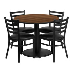 Flash Furniture - Flash Furniture Restaurant Furniture Table and Chairs X-GG-2301BRSR - 36'' Round Walnut Laminate Table Set with 4 Ladder Back Metal Chairs - Black Vinyl Seat [RSRB1032-GG]