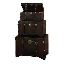 Benzara - Wood Leather High Utility Trunk - Set of 3 - Use the smaller spaces to increase the storage capacity that too with decor potential. Have a look over 39408 Wood Leather Trunk S/3. This set of three in. H utility leather trunk is covered with supple faux leather of dark brown color.
