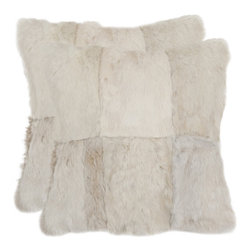 Safavieh - Angora Rabbit Fur Decorative Pillow (Set of 2) - Add a touch of Hollywood glamour to your bed, sofa or chair with Angora, a sensuously soft rabbit fur pillow crafted to create a patchwork effect. Features: -Material: Rabbit fur. -Crafted to create a patchwork effect.