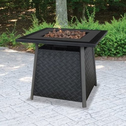 UniFlame Propane Gas Outdoor Fire Pit - With its handsome basket weave design, the handcrafted UniFlame Propane Gas Outdoor Fire Pit is perfect for smaller decks and patios. This fire pit features a decorative, weather-resistant stamped wicker base that cleverly conceals its control panel and propane tank (not included). This makes it an attractive centerpiece for your outdoor living space. It includes a 30000 BTU stainless steel burner so you can enjoy the ambiance of a classic fire without the ashes. To top it all off, this elegant fire pit comes with lava rock to beautifully accent the flames. A 1-year manufacturer's limited warranty and protective cover are included.About Blue Rhino/Inflame/Endless Summer: Blue Rhino Global Sourcing, Inc. is America's #1 propane tank exchange brand, but it doesn't stop there. Blue Rhino is a leading designer and marketer of outdoor appliances and fireplace furnishings. These products include barbecue grills, outdoor heaters, outdoor fireplaces, mosquito traps, and fireplace furnishings. You'll find a Blue Rhino product in the middle of half a billion barbecue events nationwide every year. They come under various brand names, including UniFlame, Endless Summer, and SkeeterVac.
