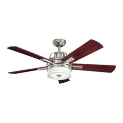 "DECORATIVE FANS - DECORATIVE FANS Lacey 52"" Transitional Ceiling Fan X-PA181003 - Reversible cherry blades give a warm look to this Decorative Fans ceiling fan. From the Lacey Collection, the Antique Pewter finish and coordinating etched cased opal glass shade give it an updated look that hints at subtle industrial influencing."
