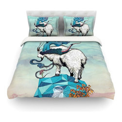 "Kess InHouse - Mat Miller ""Seeking New Heights"" Blue Goat Cotton Duvet Cover (Queen, 88"" x 88"") - Rest in comfort among this artistically inclined cotton blend duvet cover. This duvet cover is as light as a feather! You will be sure to be the envy of all of your guests with this aesthetically pleasing duvet. We highly recommend washing this as many times as you like as this material will not fade or lose comfort. Cotton blended, this duvet cover is not only beautiful and artistic but can be used year round with a duvet insert! Add our cotton shams to make your bed complete and looking stylish and artistic! Pillowcases not included."