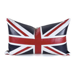 Pfeifer Studio - Union Jack Pillow, 12x20 - Long live the queen! Our handmade leather Union Jack pillow has a natural linen back, is fitted with a medium-fill feather and down inner and finished with a hidden zipper.