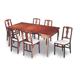 Stakmore - Dining Table Set in Cherry Finish - Perfect for smaller dining areas, this 5-piece table and chair set offer comfort and value. Plus, each of the 4 side chairs have contoured supportive backs and easily fold for storage, transport and more. Includes one dining table and four folding chairs. Steel folding mechanism. Neutral upholstered seat. Folds up to 7.25 in. deep for storage. 18.75 in. Seat height. Made from premium solid wood with veneer top. Dining table: 72 in. W x 40 in. D x 30 in. H (90 lbs.). Folding Chair: 19.25 in. W x 16.75 in. D x 35.5 in. H (15 lbs.)