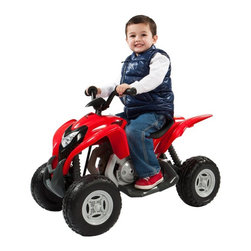 Aria Child Rollplay - Aria Child Rollplay Honda ATV Battery Powered Riding Toy Multicolor - W420AC - Shop for Tricycles and Riding Toys from Hayneedle.com! The Aria Child Rollplay Honda ATV Battery Powered Ride-On Vehicle is perfect for working the wiggles out of your little jumping bean. The action-packed antics of real sports and recreational ATVs excite the imagination of your little one's adventurous side. But that world is thankfully still a bit out of reach. This cool ride-on toy brings it just a bit closer without bringing a parent's anxiety to quite such a fevered pitch. Designed both for fun and for safety this vehicle is full of features that both you and your tot will love from the tires' rubber traction strips and extra-wide footing to the realistic Honda ATV licensed detailing. This level of detail is great for children's cognitive growth enabling them to really place themselves imaginatively in adult roles - an important part of understanding social constructions and interaction. And with a rechargeable 6V battery included your tot will be able to keep going for up to two hours at a time on one full charge. You'll love watching your kiddo zoom up and down sidewalks around the driveway and across playgrounds almost as much as they'll love doing it. To keep your child safe and the vehicle operating properly keep it running on hard surfaces and off of streets grass dirt or gravel.Additional Features:Working headlightsRealistic horn and engine soundsRubber traction strips on tiresWide step for added safetyAbout Aria ChildThe folks at Aria Child believe that recognizing quality engineering starts a young age. That's why Aria Child goes to great lengths to equip each of its riding toys with unmatched detail full of innovative features. Licensing with premium car companies like Volkswagen and BMW allows Aria Child to produce lifelike luxury vehicles that let your little one really feel like Mom or Dad driving down the street. Working horns doors headlights an