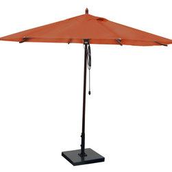 Greencorner - 11' Octagon Mahogany Umbrella, Terracotta - 11' Octagon