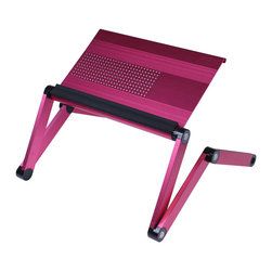 Furinno - Furinno A6-Pink Aluminum Vented Laptop desk - Furinno A6 Aluminum Ultra light AdJustable VENTED Laptop Notebook Table features air vented cavities design which reduce overheating on your laptop, notebook, tablets or books. The special locking button can be set in full 360 degree angles to fit any body position, even laidback on your bed. Just hold the button on the joints, change the position, and release the button to lock it in place. Grooved table surface to prevent slippage, and collapsible frame for easy storage and carrying. Wrist guard added extra comfort. It weights 5 pounds and can support up to 30 pounds capacity. The height is adJustable from 11.25 inches to full height of 22 inches depending on the need.