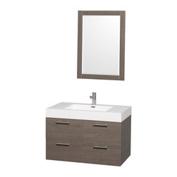 Wyndham Collection - Modern Wall Mounted Storage Vanity Set - Includes mirror, drain assemblies and P-traps for easy assembly. Faucet not included. Single hole faucet mount. Modern clean lines. Eight stage preparation. Veneering and finishing process. Highly water resistant low V.O.C. sealed finish. Unique and striking contemporary design. Deep doweled drawers. Fully extending soft close drawer slides. Soft close door hinges. Single hole faucet mount. Two functional drawers. Plenty of storage space. Acrylic resin top. Integrated square sink. Perfect for small bathrooms and powder rooms. Engineered for durability and to prevent warping and last for lifetime. 0.75 in. thickness mirror. Made from highest quality grade E1 MDF. Metal exterior hardware with brushed chrome finish. Grey finish. Minimal assembly required. Mirror: 23.75 in. W x 33 in. H. Vanity: 35 in. W x 21 in. D x 23.5 in. H. Care Instructions. Assembly Instructions - Sink. Assembly Instructions - MirrorTruly elegant design aesthetic meet affordability in the Wyndham Collection Amare Vanity. The attention to detail on this elegant contemporary vanity is unrivalled.