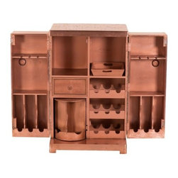 YOSEMITE HOME DECOR - Wine Cabinet - Copper, yes it's copper. This unique wine cabinet will turn heads everywhere. Genuine aged copper cladding covers the entire front, sides and top of this stunning piece. Lacquered for durability and long lasting beauty. Plenty of storage space for your favorite beverages. Plus room for stemware, a storage drawer and serving tray. Do not use abrasive or ammonia based cleaners. Assembled and Made in India.   Item Dimensions are 28inches Width X 22inches Depth X 44inches Height
