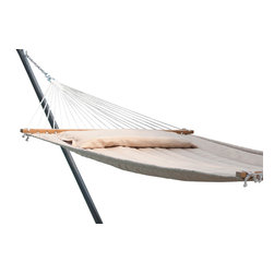 "Smart Solar - Monte Carlo Premium Poly Double Hammock - Taupe - Premium eco-friendly babmoo spreader bars. Hand oiled finish with burnished logo. 1/4 in three ply twisted rope hand woven and tied by professional craftsman. Custom quilted cushioned fabric with plush 350 gr poly fill for maximum comfort with pillow included. Innovative water proof fabric dries quickly after rain and is resistant to UV rays, mold, mildew and stains. Extra large double size with 500 lb capacity. Rust proof stainless steel hanging rings and hardware included. 80"" long bed between wooden spreader bars. 156"" long from ring to ring (without chains). 180"" long total (with chains). Fits all standard double hammock stands. Includes poly bag for convenient storage. Color = taupe. Shown with Belize metal stand (sold separately)."