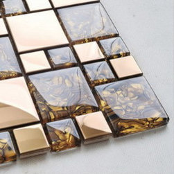 2013 New glass stone metal blend mosaic tile for kitchen backsplash CTN0006 - Material: glass and stainless steel