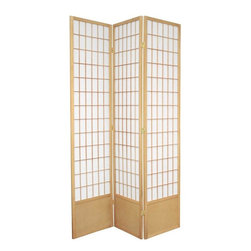 Oriental Furniture - 6 1/2 ft. Tall Window Pane Shoji Screen - Natural - 3 Panels - This handsome room divider features traditional Japanese design reworked for use in the modern home. The Shoji rice paper is translucent, providing privacy without obstructing light, and fiber-reinforced for extra durability. The lightweight wooden frame is durable, portable, and features a kick plate to prevent scuffs. The classic design works great as a partition, privacy screen, or simply adding an elegant accent to any style of decor.