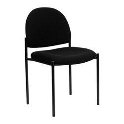 Flash Furniture - Flash Furniture Reception Black Fabric Metal Stack Dining Side Chair - Complete your office or reception area with this stacking side chair by Flash Furniture. The comfortably padded seat and back are provided to make your guests feel at ease while waiting. The steel frame of this chair is strong enough to last for years of use. [BT-515-1-BK-GG] Operating out of Etowah GA (with a warehouse in Reno NV) Flash Furniture specializes in bold upbeat décor for home office or commercial spaces. With a wide array of colors and fashions to fit your budget Flash Furniture accommodates your every need. Features include Stackable Guest Chair Black Fabric Upholstery 2.5'' Thick Padded Seat Two Steel Cross Brace Support Bars underneath Seat .75'' Leg Diameter Steel Tubular Steel Frame Black Powder Coated Finish CA117 Fire Retardant Foam. Specifications Seat Size: 19W x 18.5D Back Size: 18.5W x 14.25H Seat Height: 19H Finish: Black Powder Coat Color: Black Upholstery: Black Fabric.