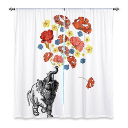 "DiaNoche Designs - Window Curtains Lined by Marci Cheary Elephant - DiaNoche Designs works with artists from around the world to print their stunning works to many unique home decor items.  Purchasing window curtains just got easier and better! Create a designer look to any of your living spaces with our decorative and unique ""Lined Window Curtains."" Perfect for the living room, dining room or bedroom, these artistic curtains are an easy and inexpensive way to add color and style when decorating your home.  This is a woven poly material that filters outside light and creates a privacy barrier.  Each package includes two easy-to-hang, 3 inch diameter pole-pocket curtain panels.  The width listed is the total measurement of the two panels.  Curtain rod sold separately. Easy care, machine wash cold, tumble dry low, iron low if needed.  Printed in the USA."