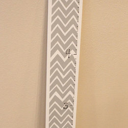 Grey, White, and Yellow Growth Chart - Grey, white, hand paitned wood growth chart with a yellow ribbon accent for hanging.   Is the perfect accent to any babies room.  Color can be varied too!  Just inquire.