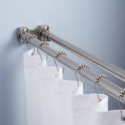 Straight Double Shower Curtain Rod - Add greater functionality and convenience to your walk-in shower with the Double Shower Curtain Rod, crafted of durable brass. This rod's double-rail design allows you to hang towels and washcloths to dry after shower.