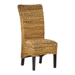 Dovetail Furniture - Irvine Dining Chair - What stands out when viewing the Irvine Dining Chair is its hand crafted nature.  The art of twisting banana leaf into a workable material for use in furniture design is a testament to honed craftsmanship. The high back on this chair is slightlty curved offering lower lumbar support that is delightfully comfortable.  The hardwood legs with its dark finish compliments the banana leaf quite well. The seat is padded with a high density foam under the weave for comfort. When looking to add a natural and warm element to your dining space, the Irvine meets the task.